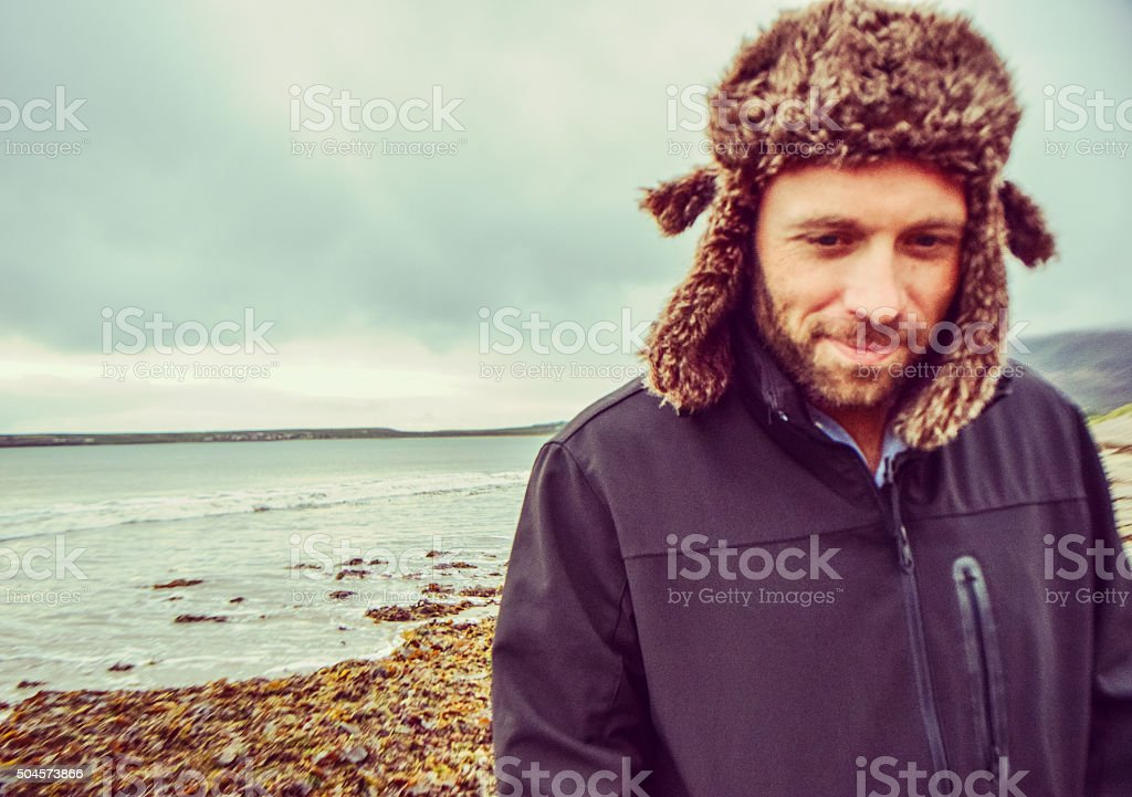 Cold beach stock photo