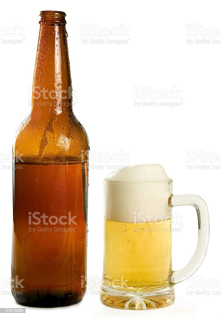 Cold Beer and Bottle royalty-free stock photo