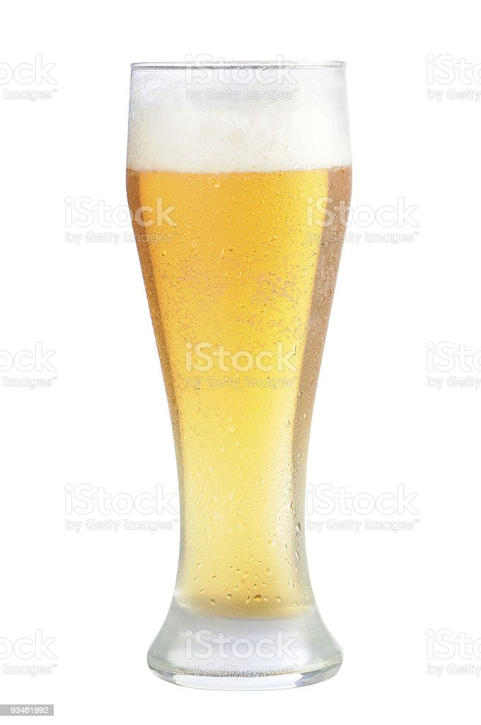 Cold beer glass with path royalty-free stock photo