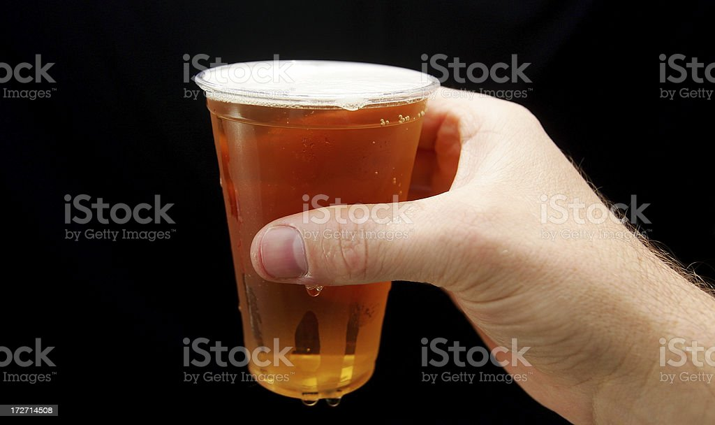 Cold Beer in Plastic Cup royalty-free stock photo