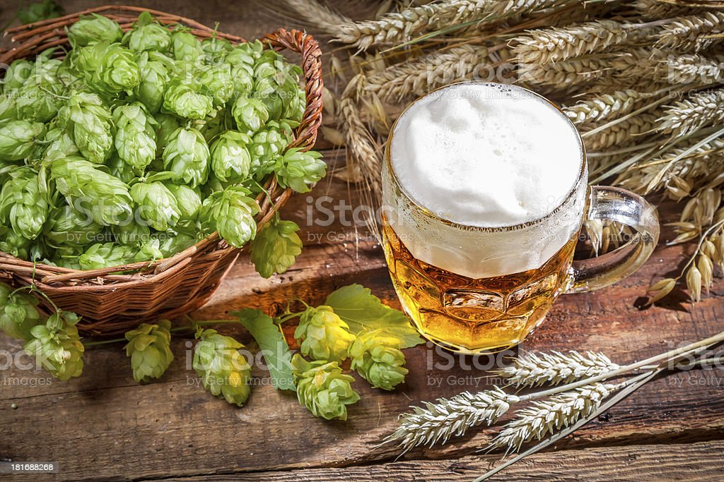 Cold beer made of fresh ingredients royalty-free stock photo