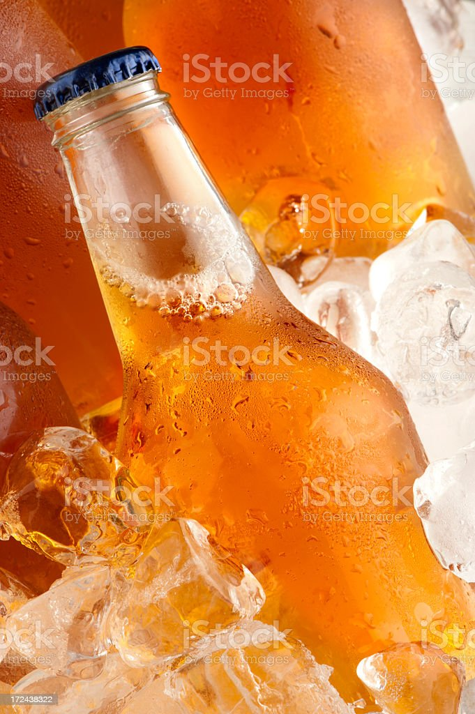 Cold beer on ice royalty-free stock photo