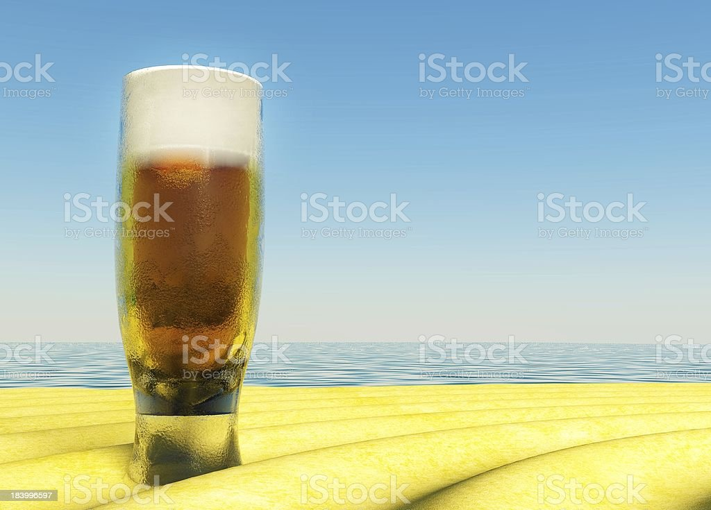 Cold Beer on Summer Sand, beach royalty-free stock photo