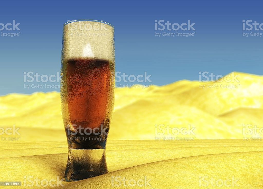 Cold Beer on Summer Sand, Desire royalty-free stock photo