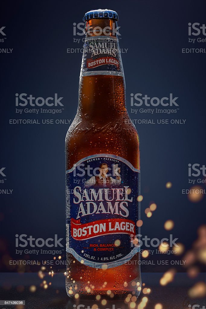 Cold Beer - Samuel Adams - Boston Lager - Condensation stock photo