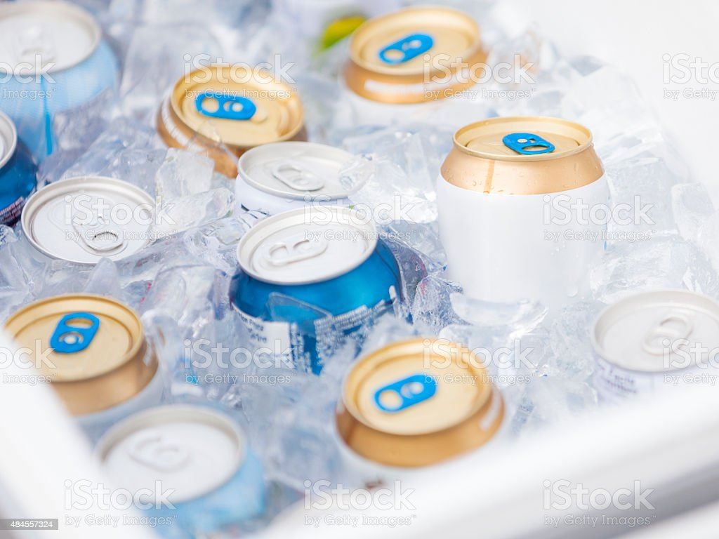 Cold Beers in a Cooler stock photo