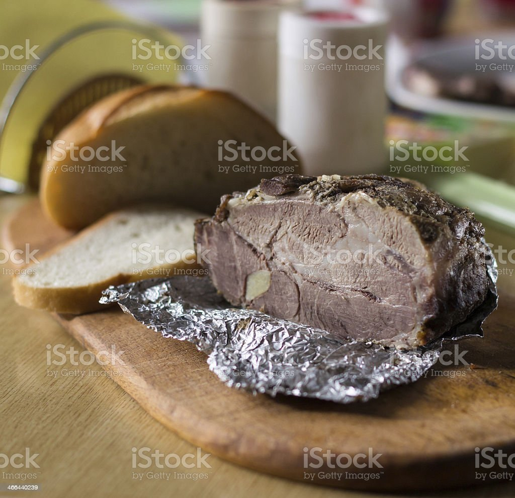 cold boiled pork stock photo