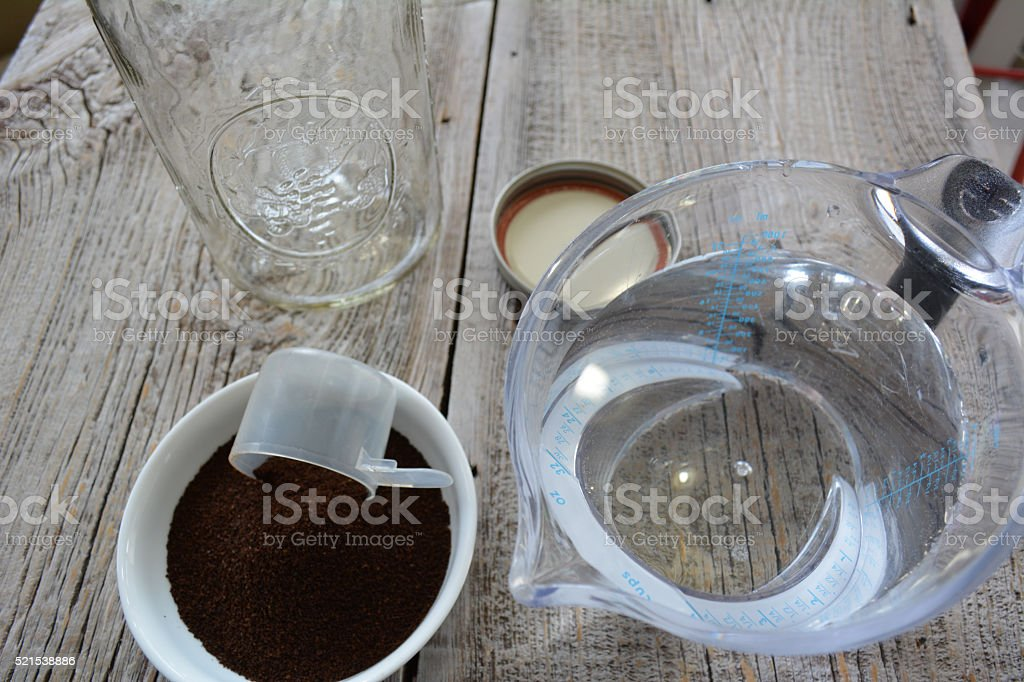 Cold brew coffee ingredients stock photo