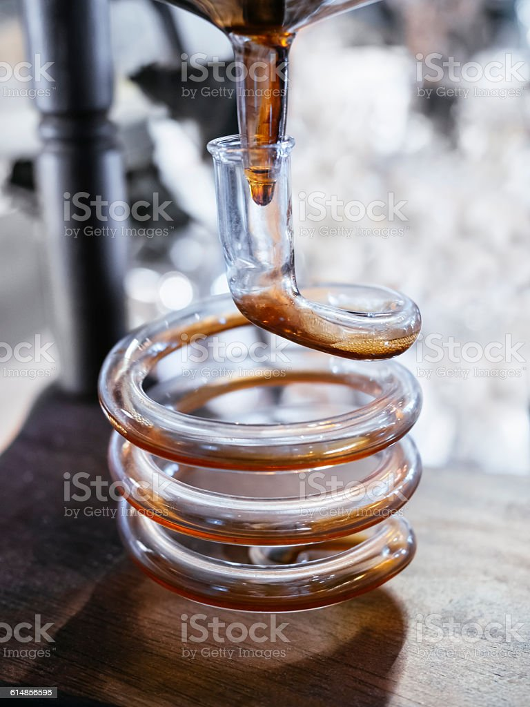 Cold Brew Coffee Syphon Bar process stock photo