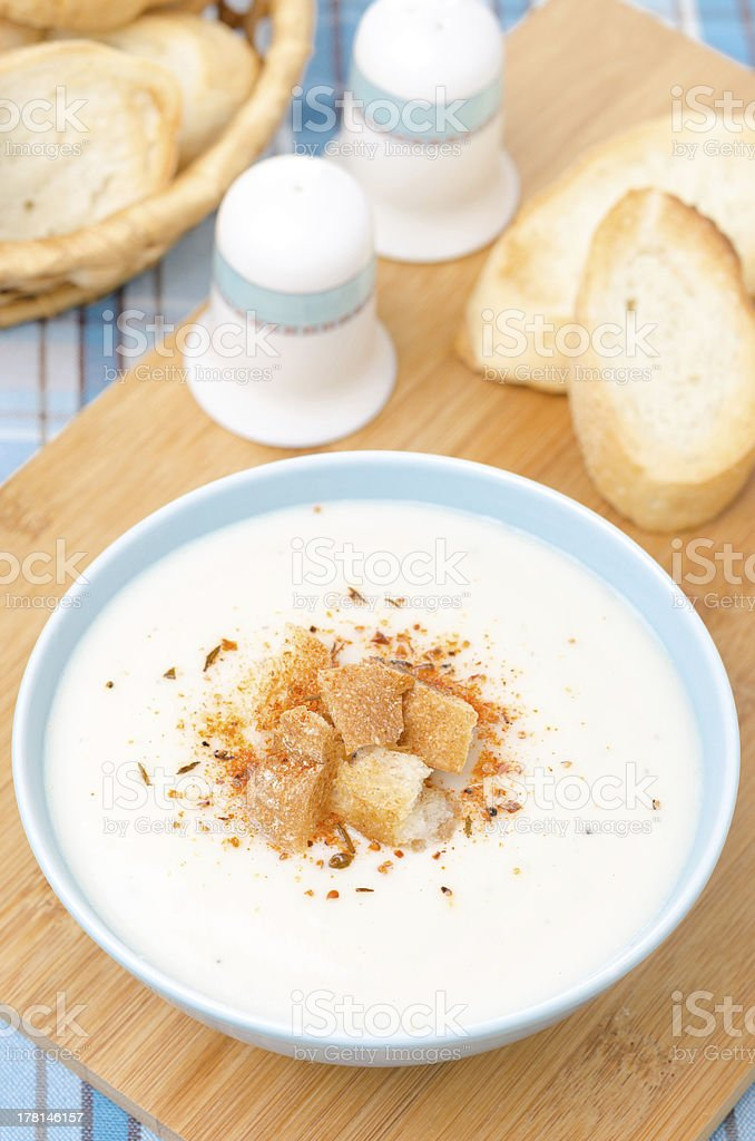 cold cauliflower soup with cottage cheese and croutons royalty-free stock photo