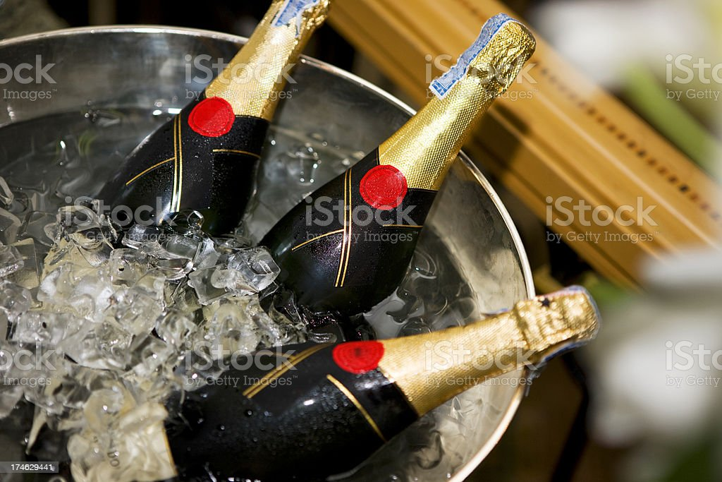 Cold  Champagne bottles stock photo