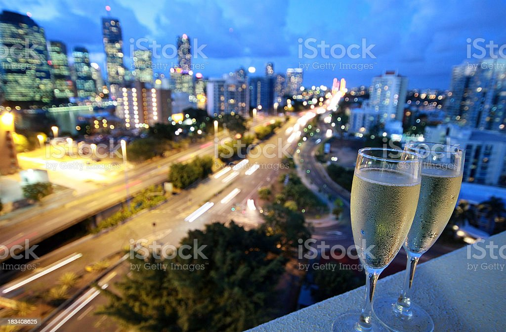 Cold champagne glasses royalty-free stock photo