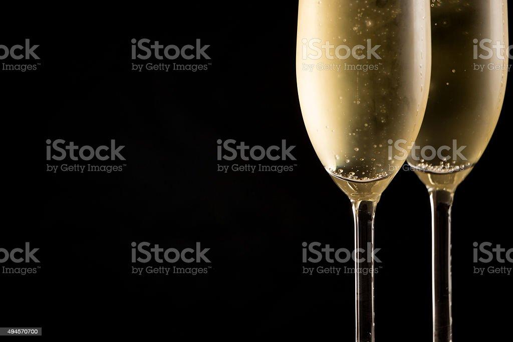 Cold Champagne glasses stock photo