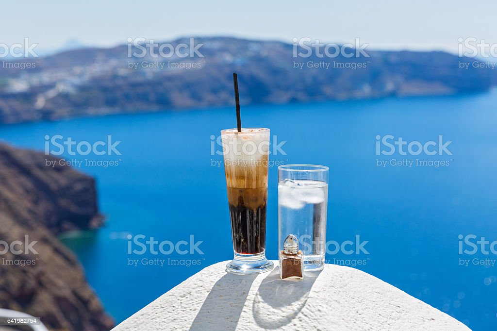 Cold cocktail with coffee and water stock photo