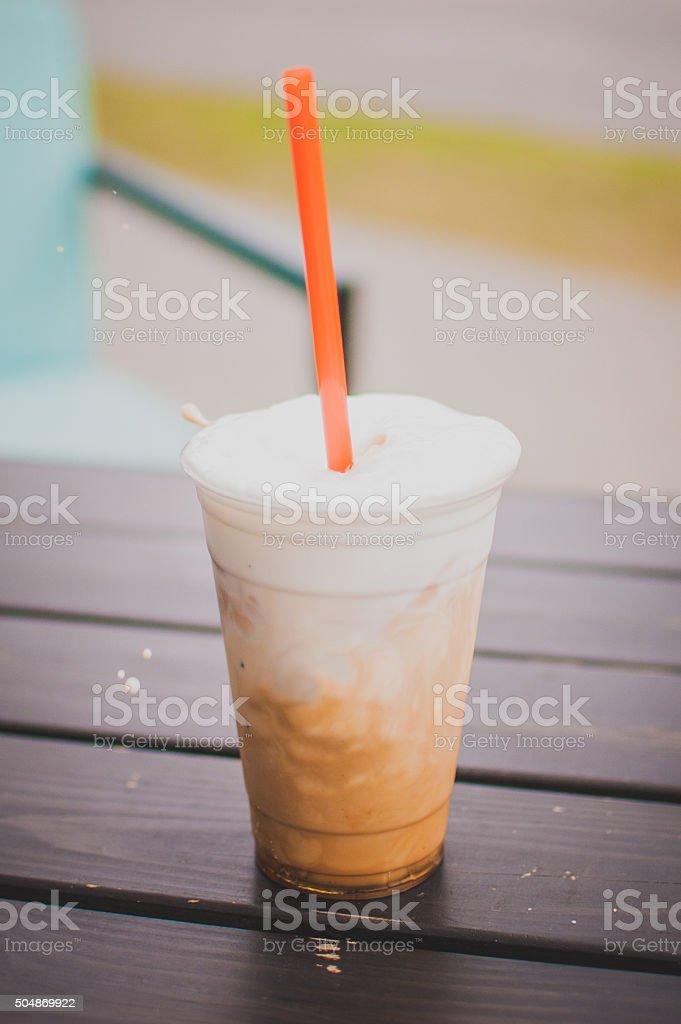 Cold coffee latte stock photo