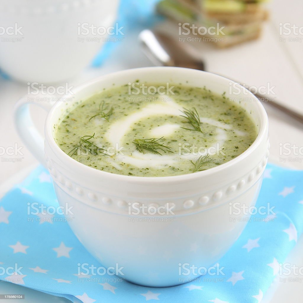 Cold cucumber soup with dill, yogurt royalty-free stock photo