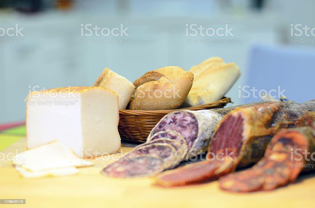 Pain, de la viande froide et du fromage photo libre de droits