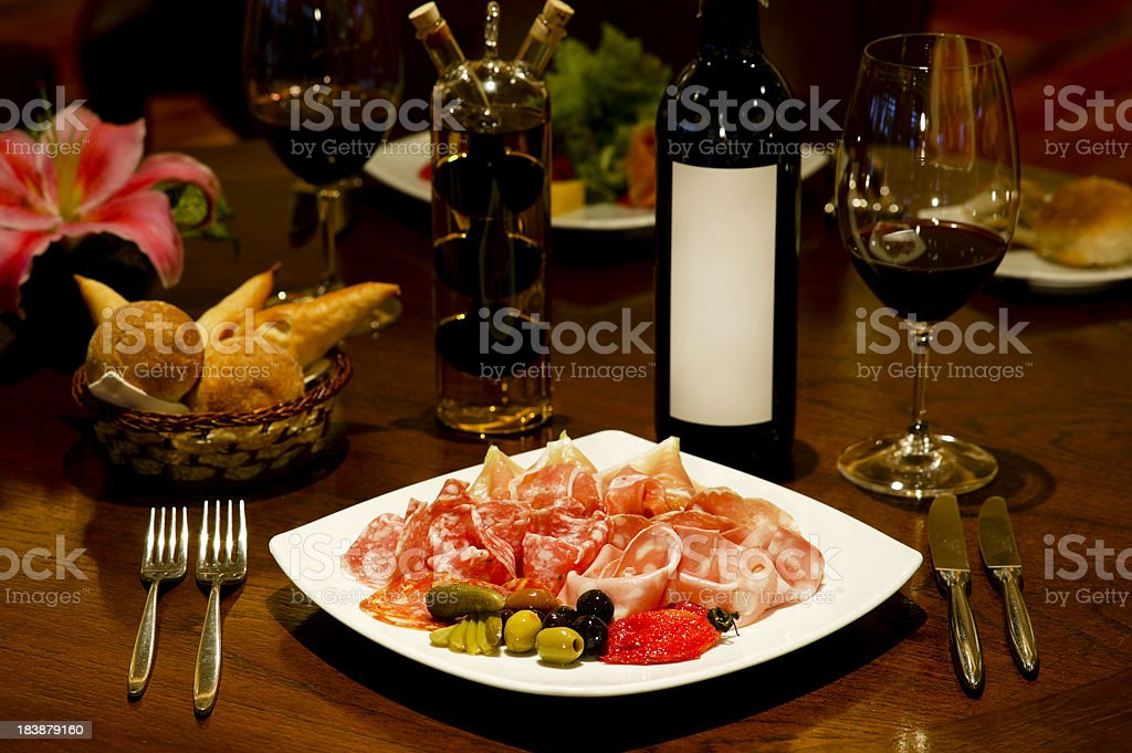 cold cut meat appetizer antipasto royalty-free stock photo