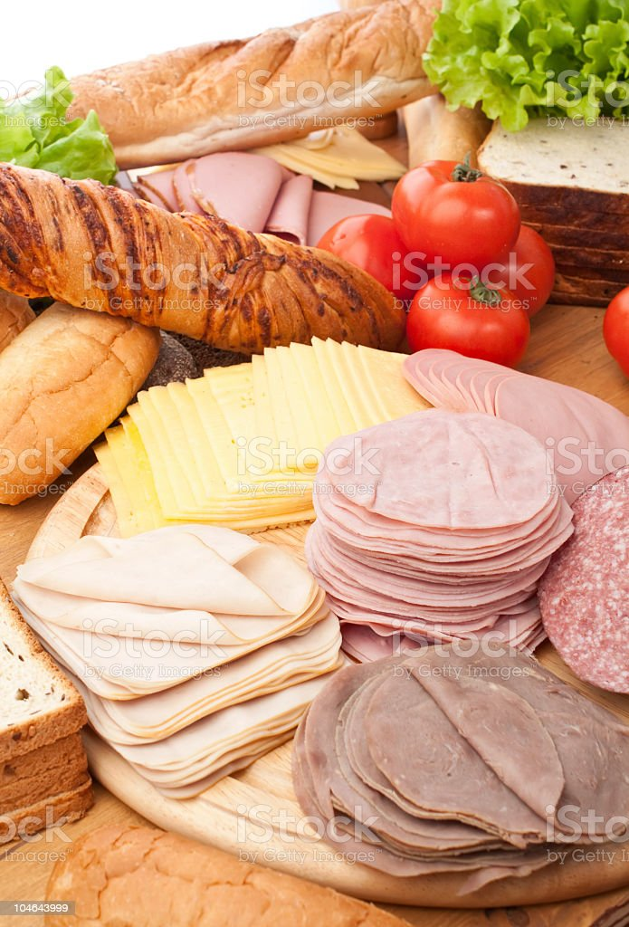 Cold cuts and bread for sandwiches royalty-free stock photo