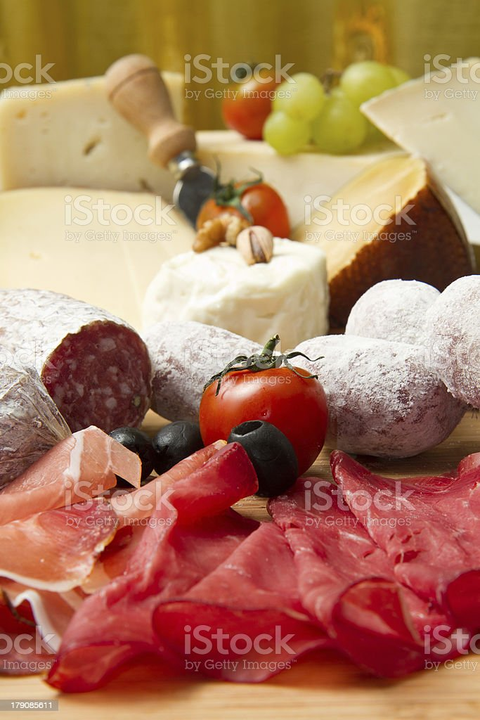 cold cuts and cheese royalty-free stock photo