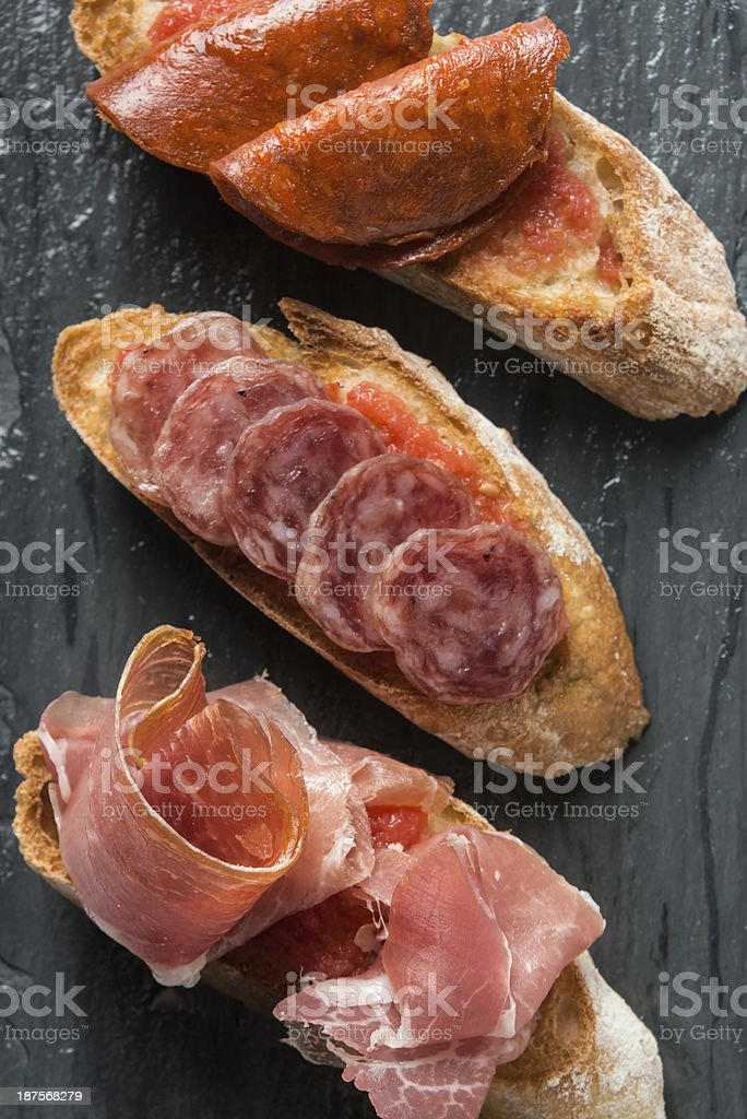 Cold cuts canapes stock photo