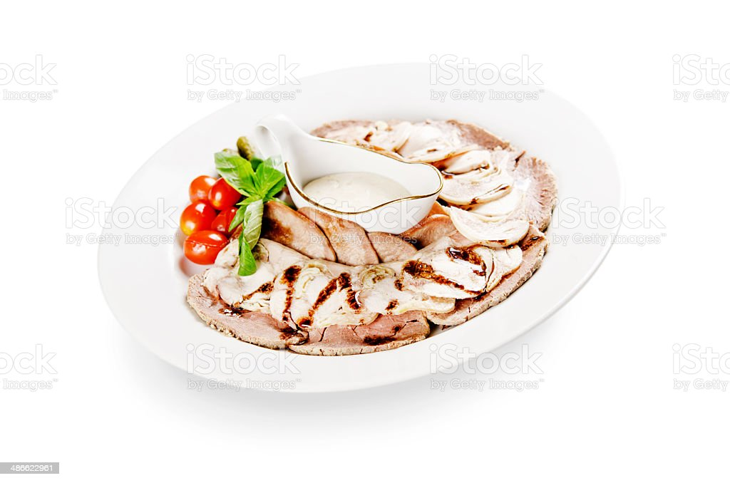 cold cuts on white background royalty-free stock photo