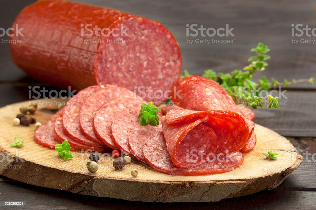 cold cuts(salami) stock photo