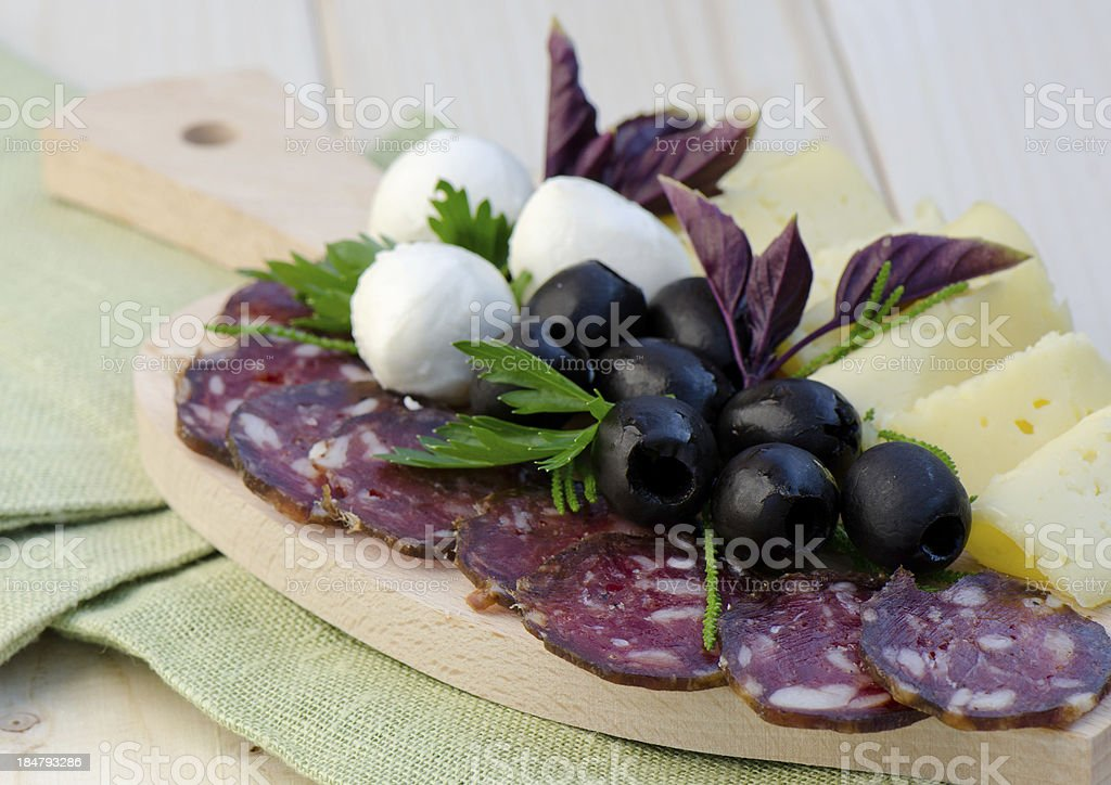 Cold cuts with salami royalty-free stock photo