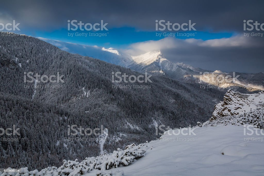 Cold dawn in Tatra Mountains at winter, Poland stock photo