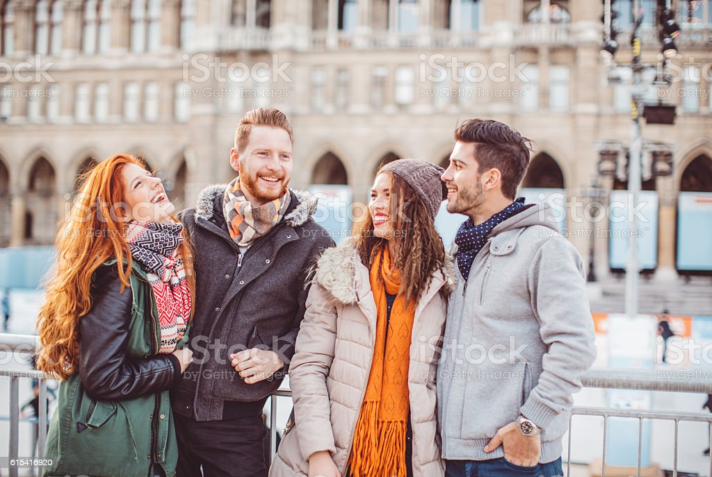 Cold days are better with friends stock photo
