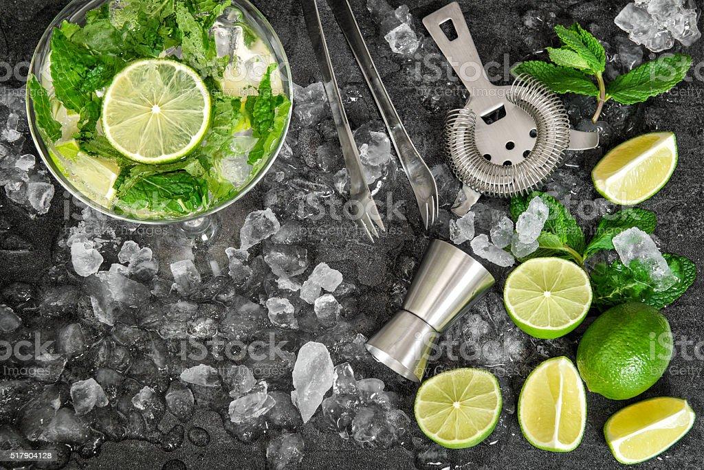 Cold drink glass. Mojito, caipirinha, lemonade tonic water stock photo