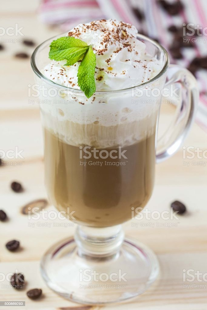 Cold drink, summer coffee with whipped cream, ice, chocolate stock photo