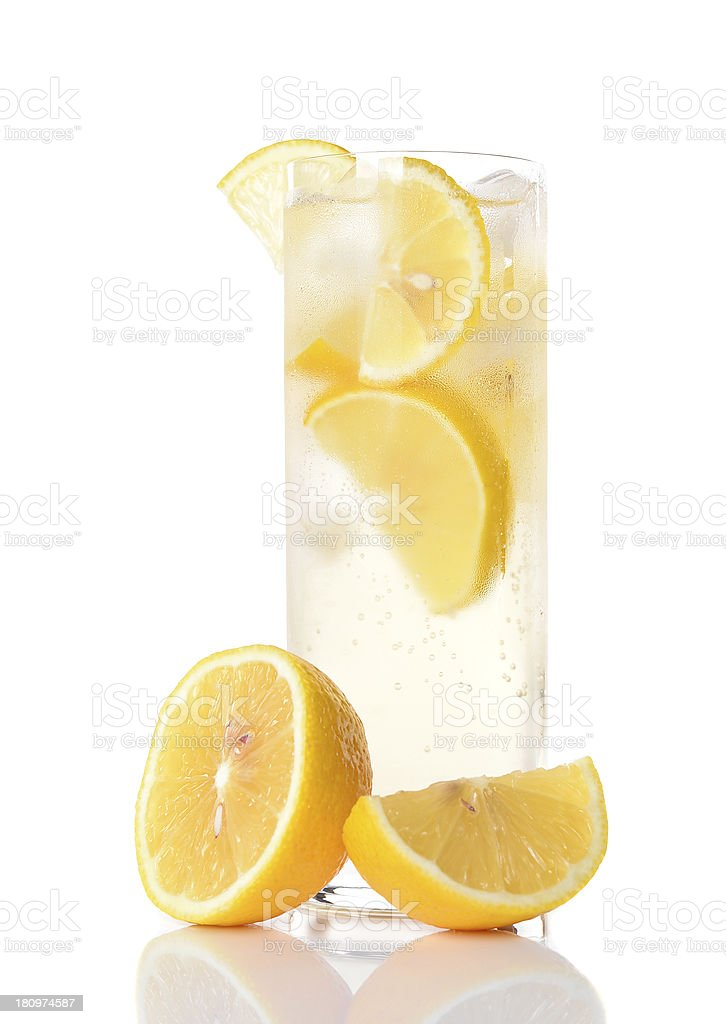 Cold drink with  lemon and mint royalty-free stock photo