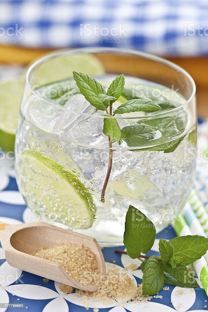 Cold drink with lime and ice royalty-free stock photo