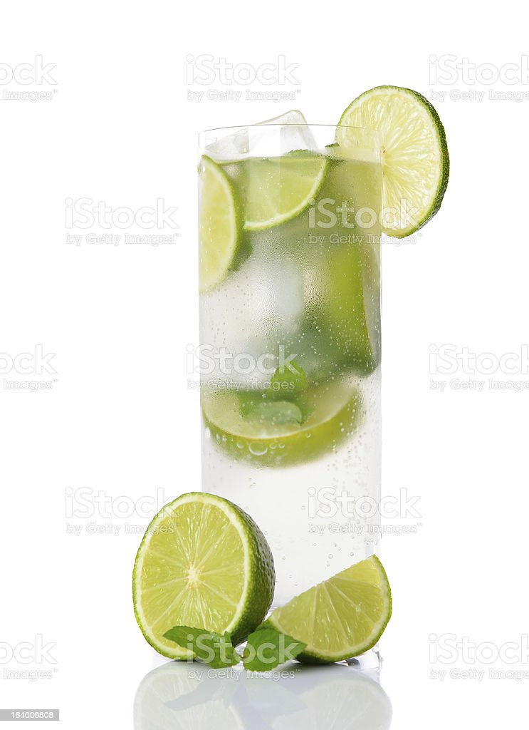 Cold drink with lime and mint royalty-free stock photo