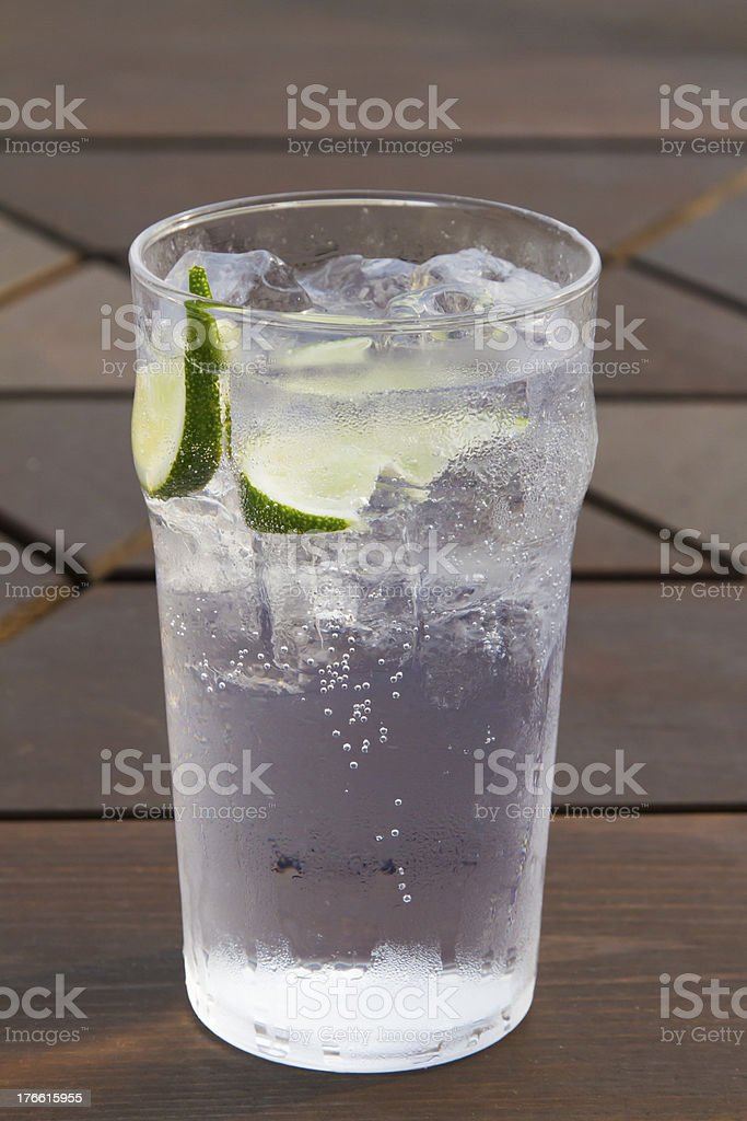 Cold Drink with Lime Slices royalty-free stock photo