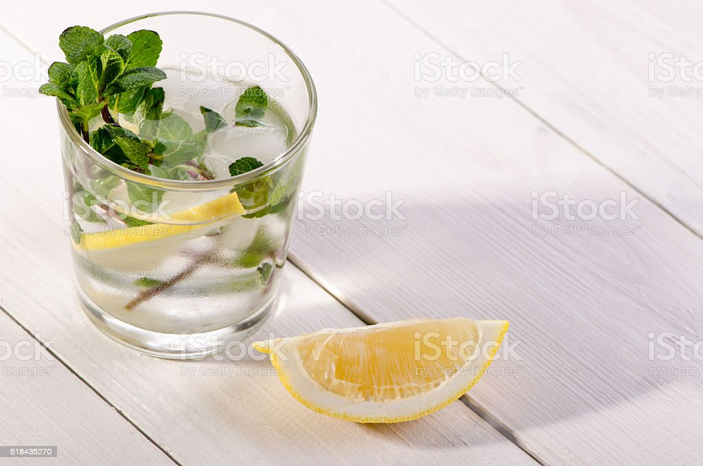 cold drink with mint and lemon stock photo