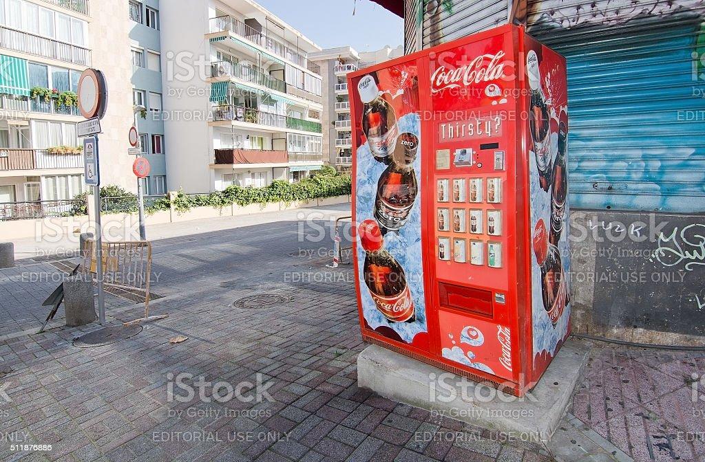 Cold drinks vending machine stock photo