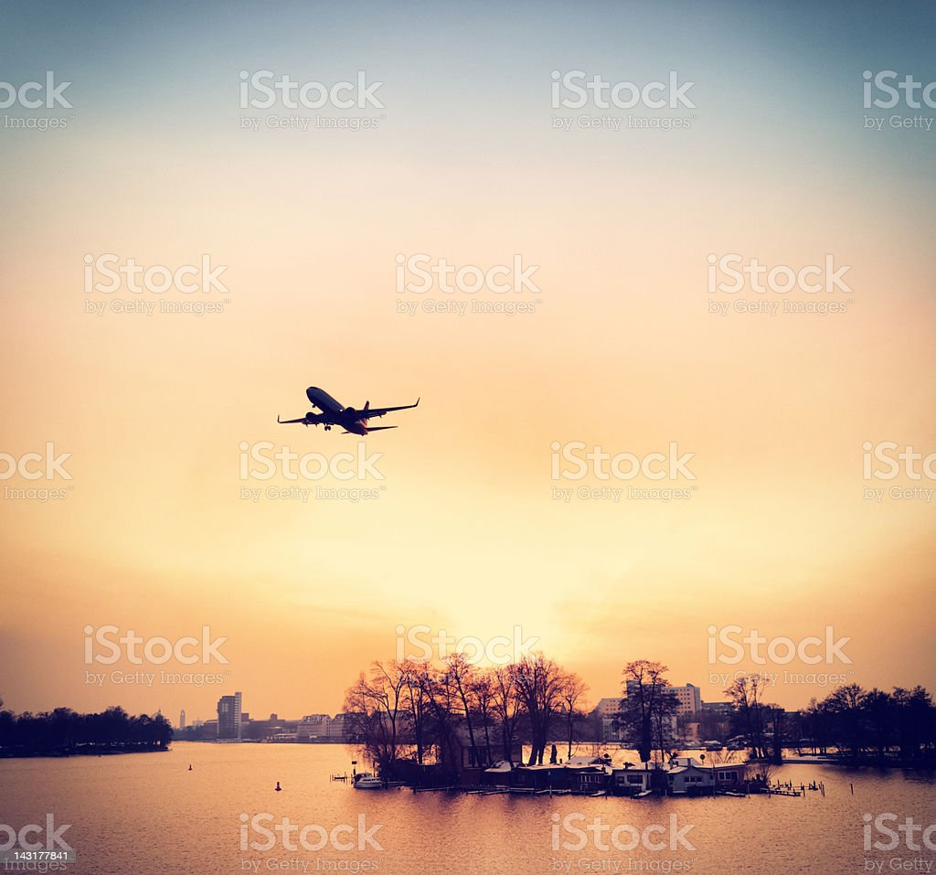 Cold Evening on the River Havel in Berlin stock photo
