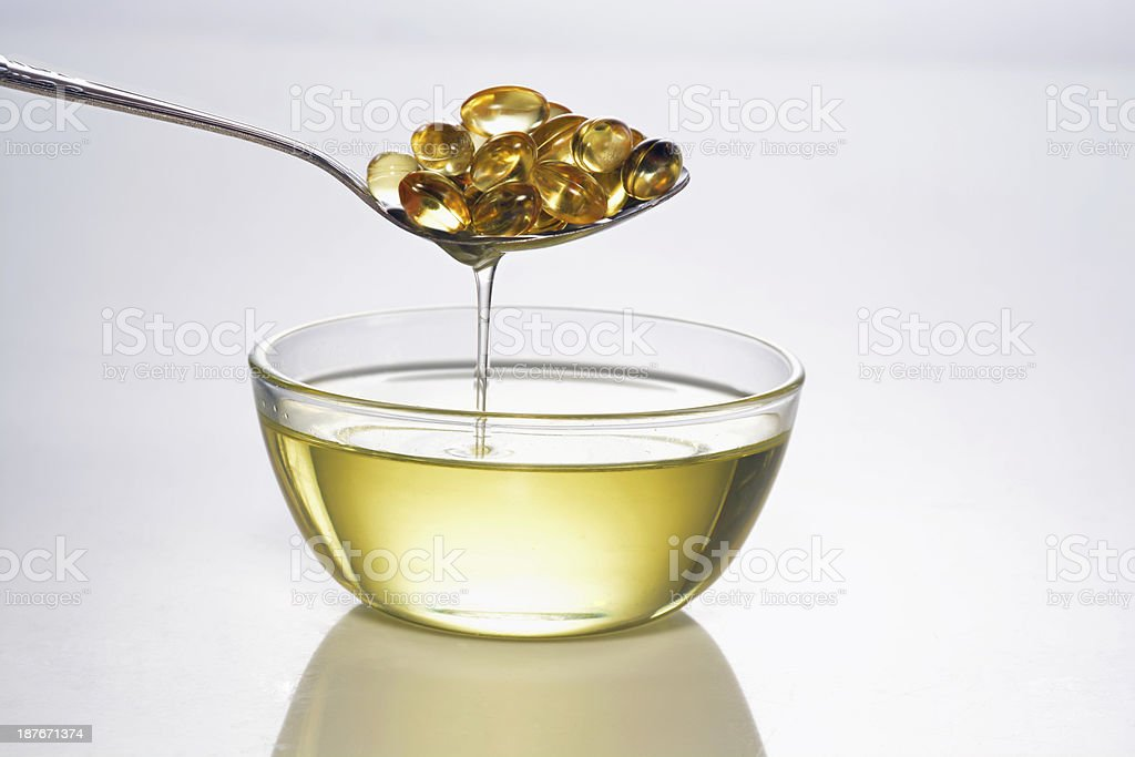 cold fish oil stock photo