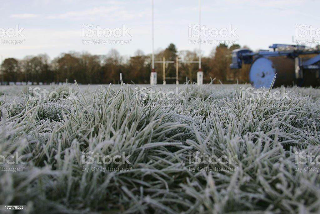 cold footballfield stock photo