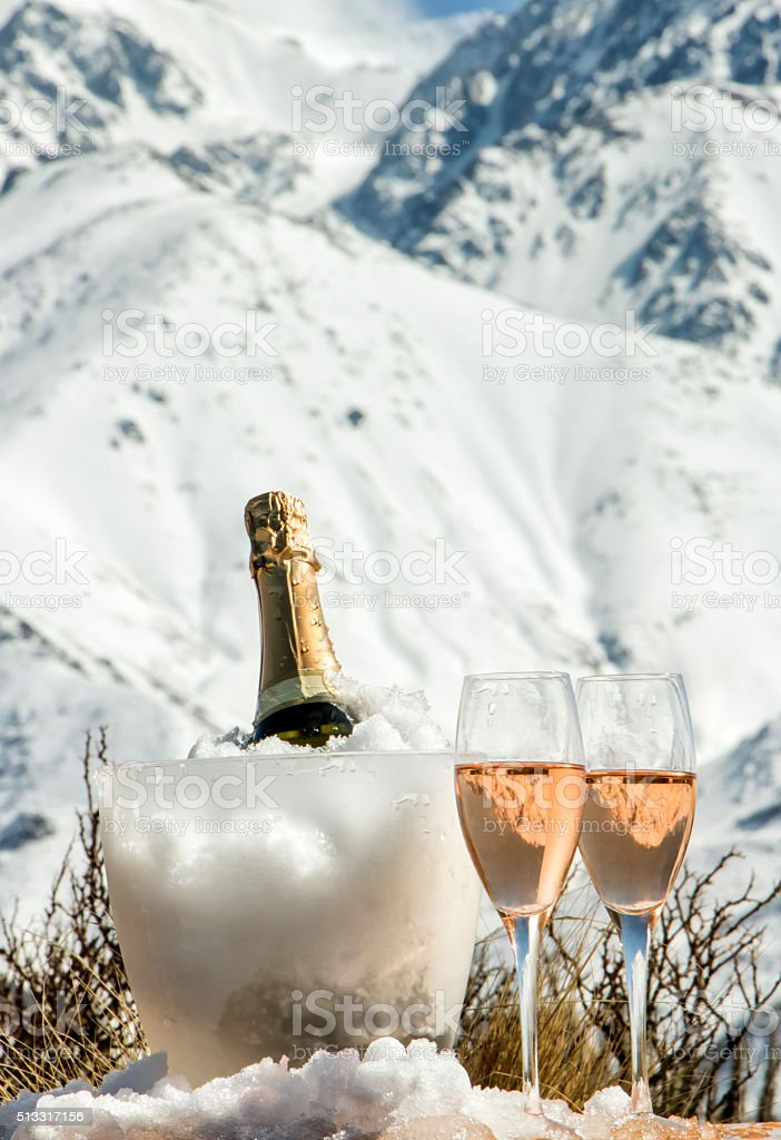 Cold french rosé champagne at Alps stock photo