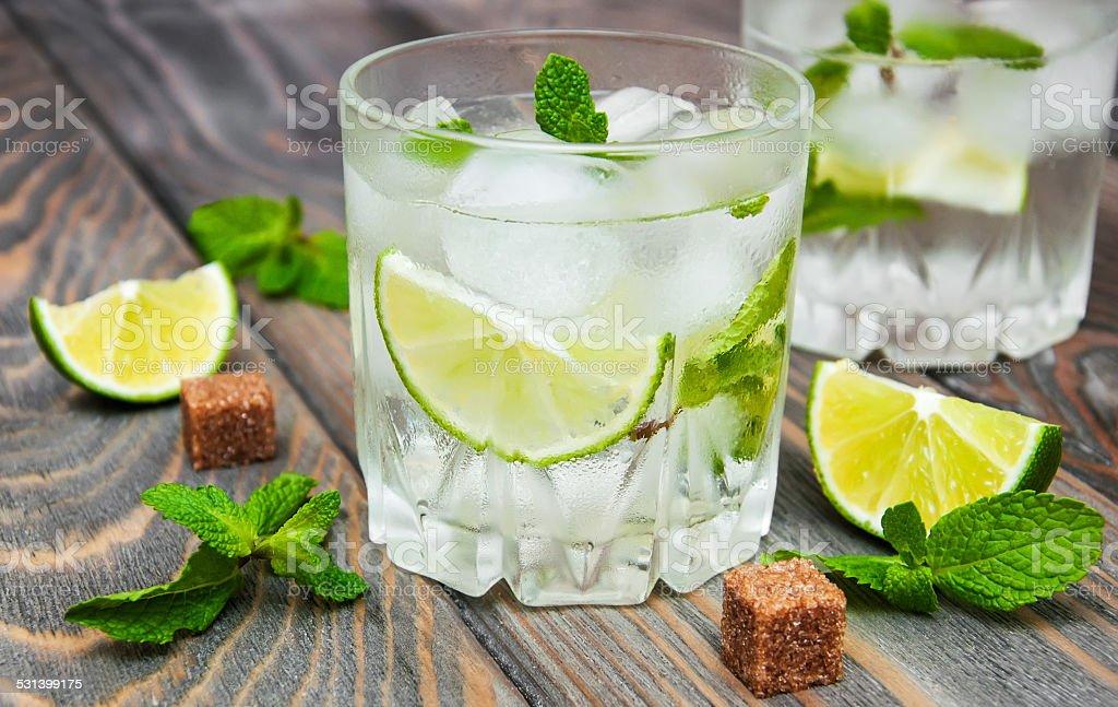 Cold fresh lemonade drink stock photo
