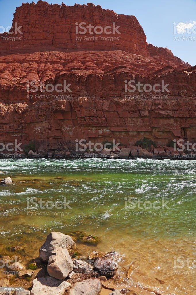 Cold green water of the Colorado River stock photo