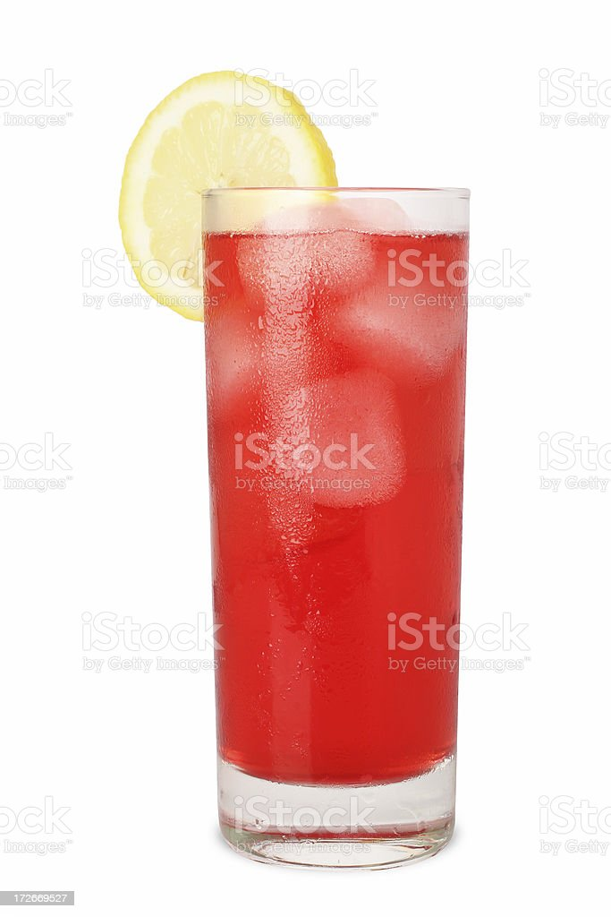 Cold Juice with Lemon (Isolated on White) royalty-free stock photo