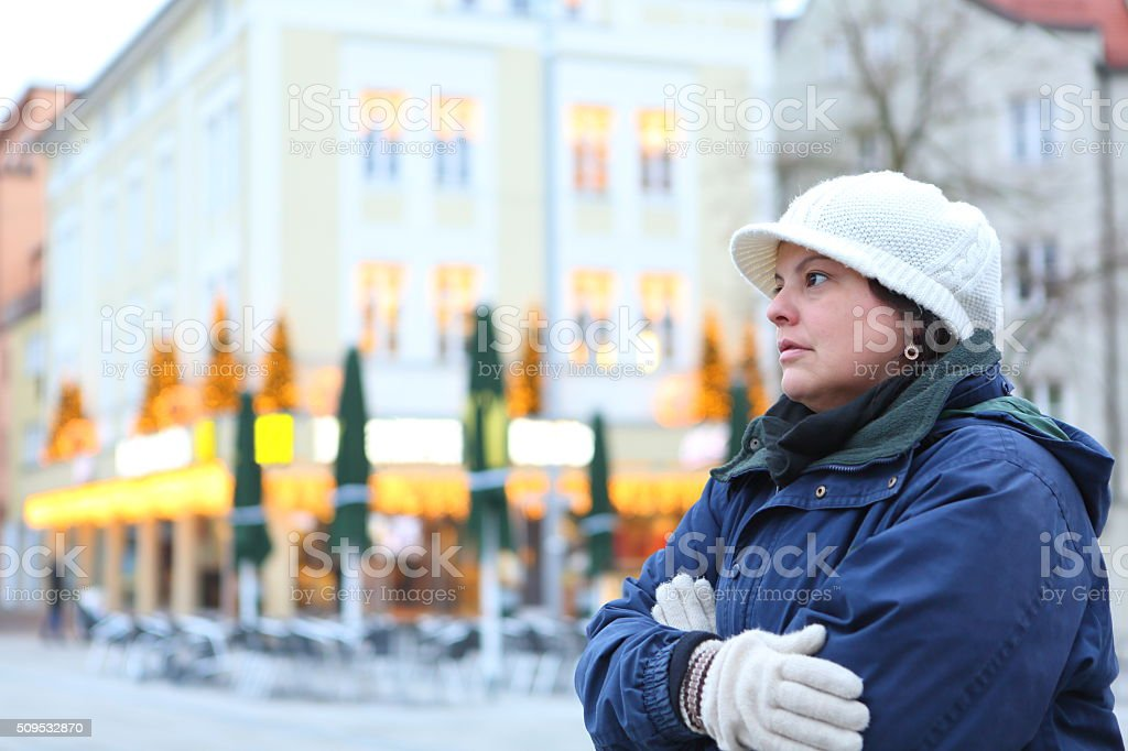 Cold Lady under Winter Weather stock photo