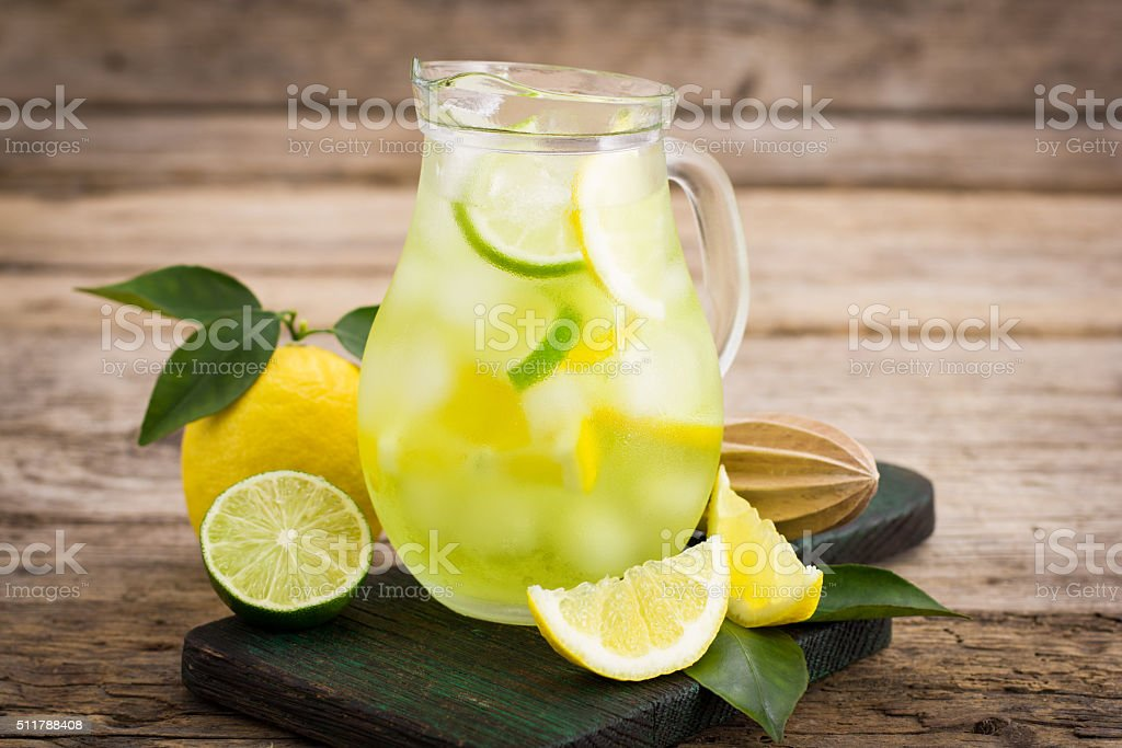 Cold lemonade with ice stock photo