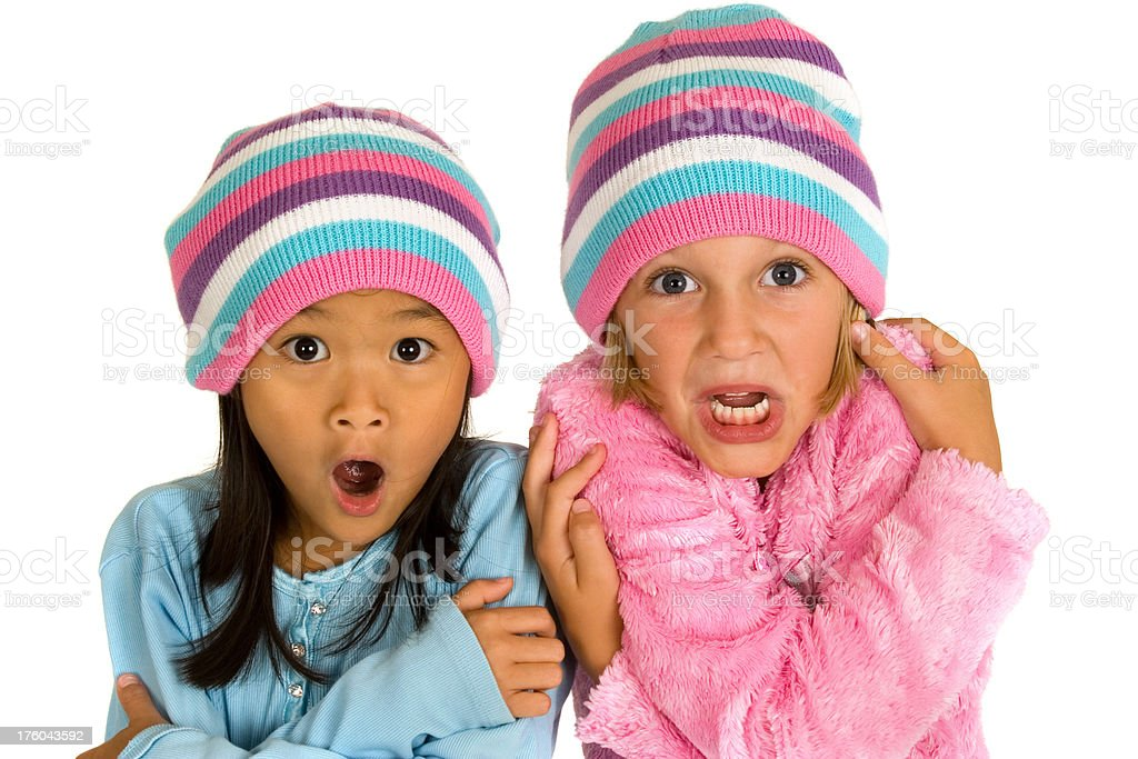 Cold Little Girls royalty-free stock photo