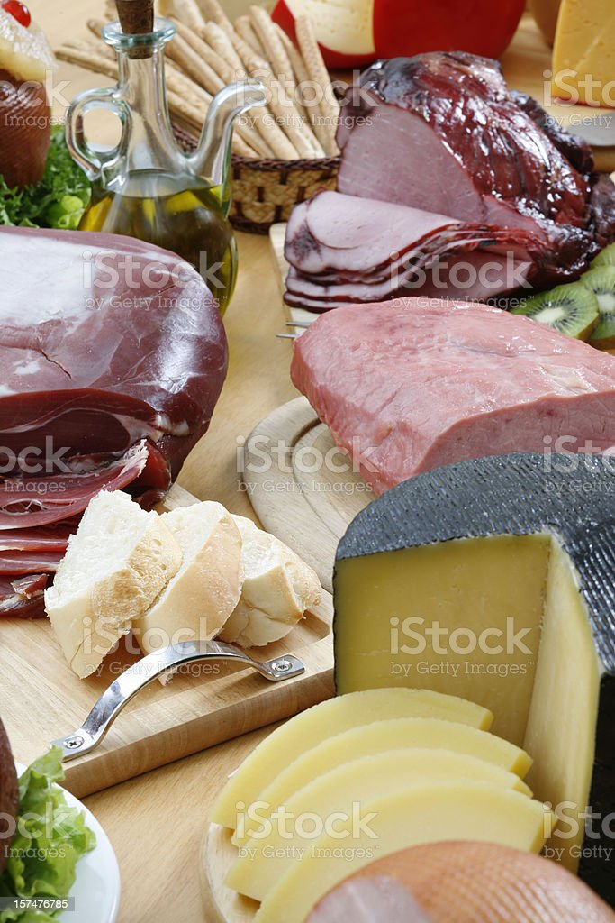 Cold meat and cheese royalty-free stock photo