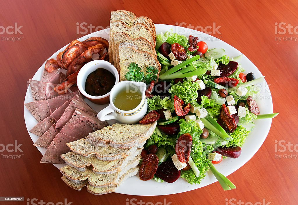 Cold Meat and Salad royalty-free stock photo